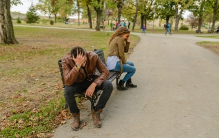 Couple fighting about competition in relationship